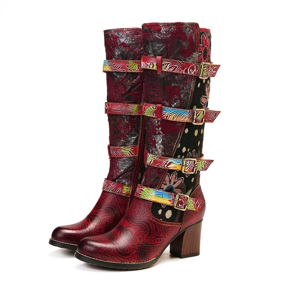 SOCOFY Vintage Embossed Leather Printing Mid Calf Boots фото