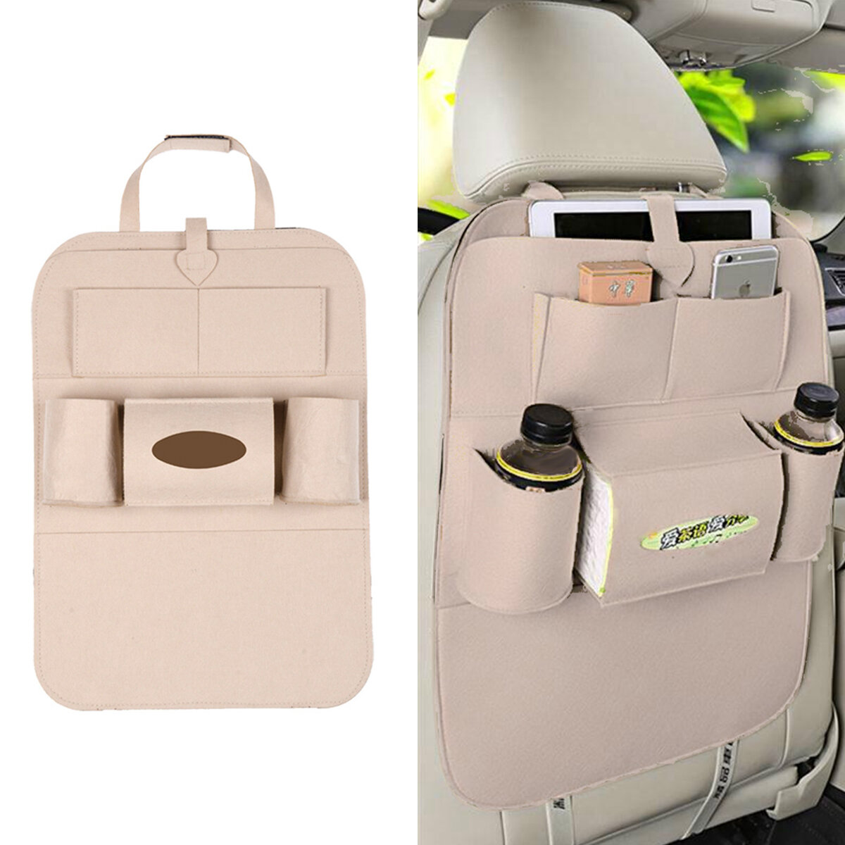 Non-woven Car Seat Back Tidying Storage Bag Hanging Organizer Pocket Pouch Cup Bottle Phone Holder Outdoor Travel