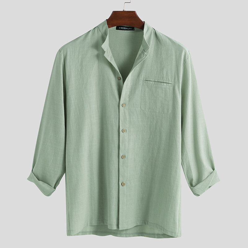 Mens Fashion 100% Cotton Pocket Solid Color Casual Shirts - 3