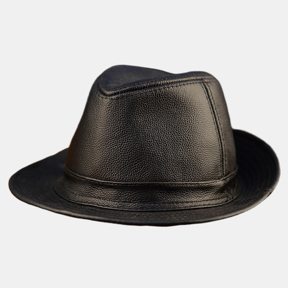 Collrown Mens Genuine Cowhide Leather Beret Caps Solid Casual Warm Forward Caps Adjustable - 4