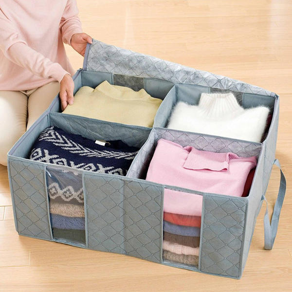 130L Transparent Clothes Quilts Storage Bags Folding Organizer Bag Bamboo Container