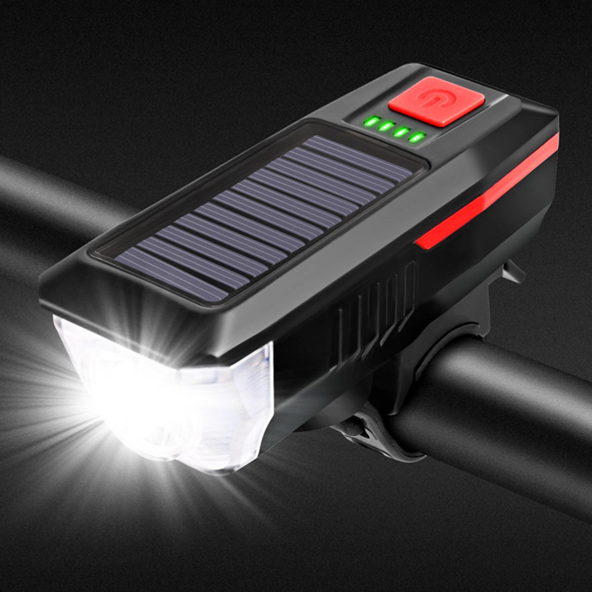 Solar Power Bicycle Headlights Ring Bell Light Waterproof Rechargeable Bike Lamp