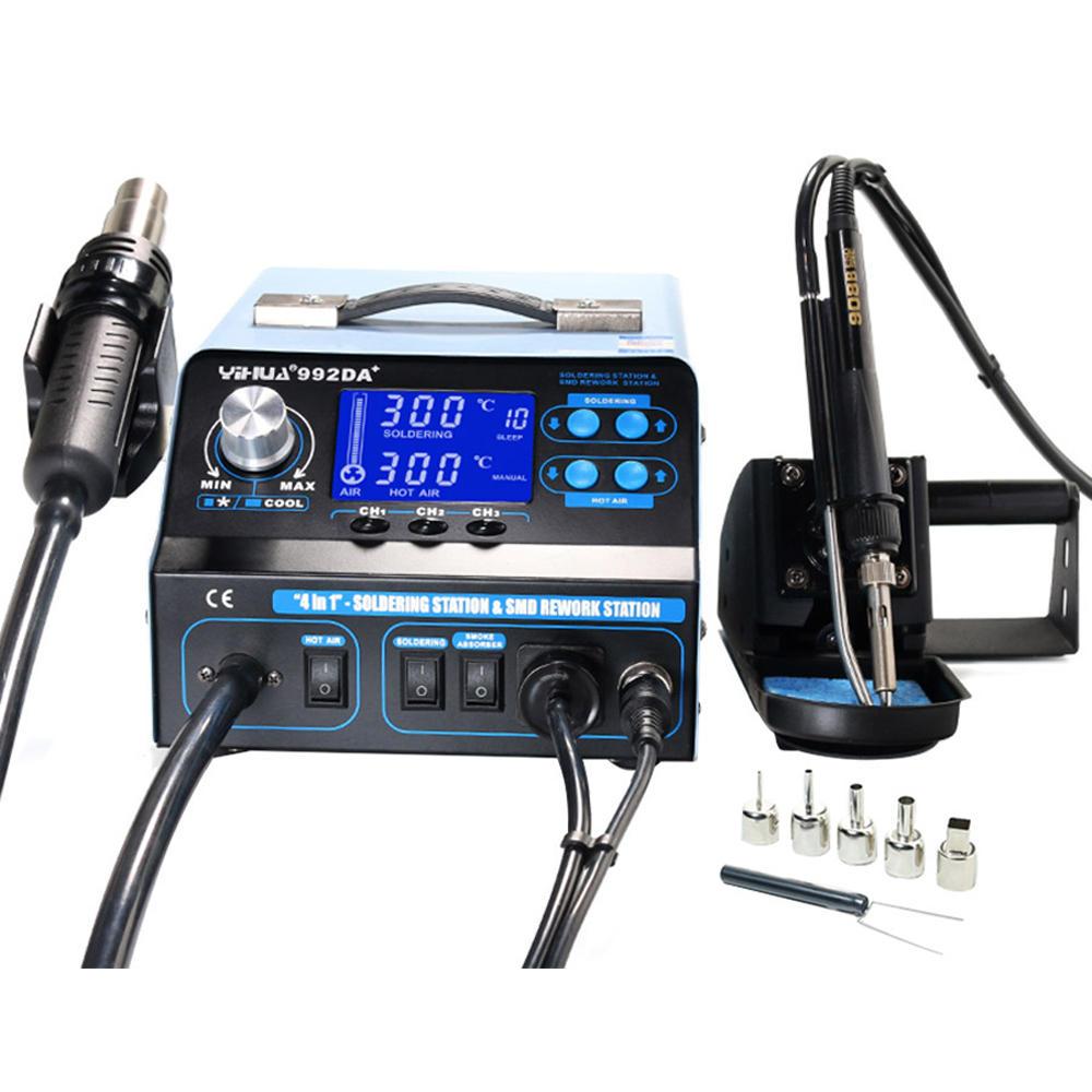 YIHUA 992DA+ 4 in 1 LCD Digital Hot Air Heater Soldering Station + Smoking Electric Soldering Iron BGA Rework Station