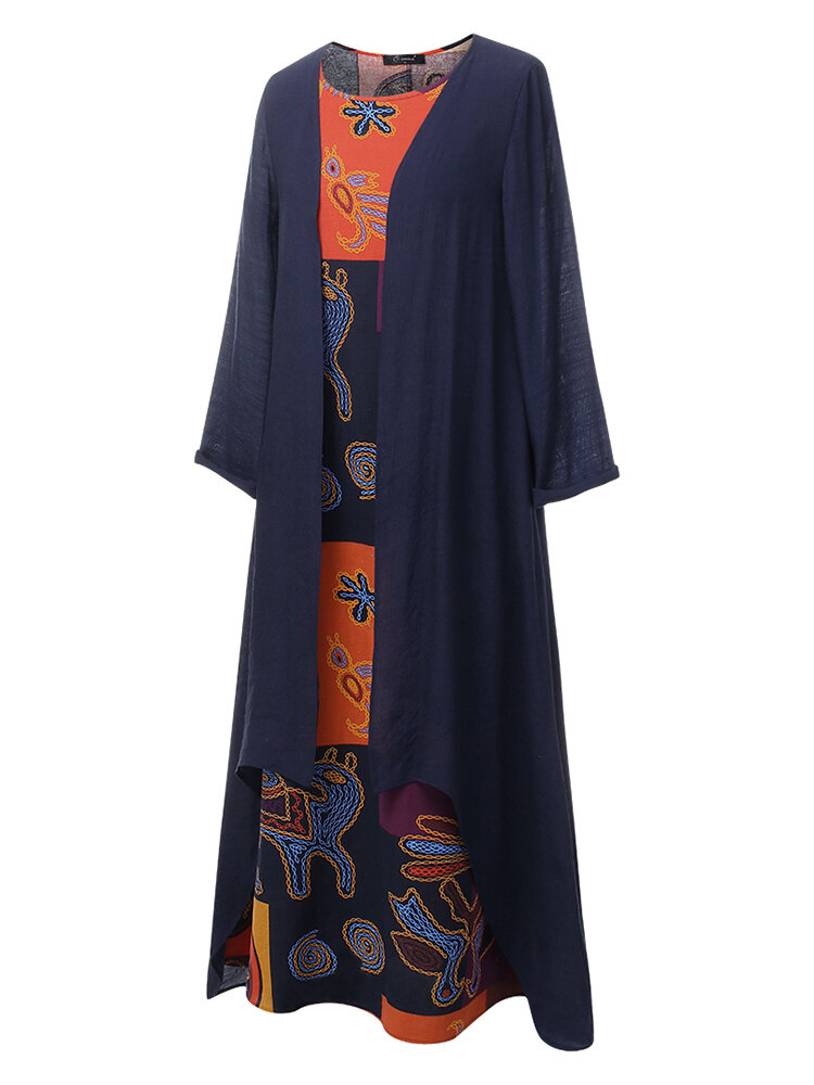 Lace Patchwork Solid Color Long Sleeve Casual Maxi Dress - 5