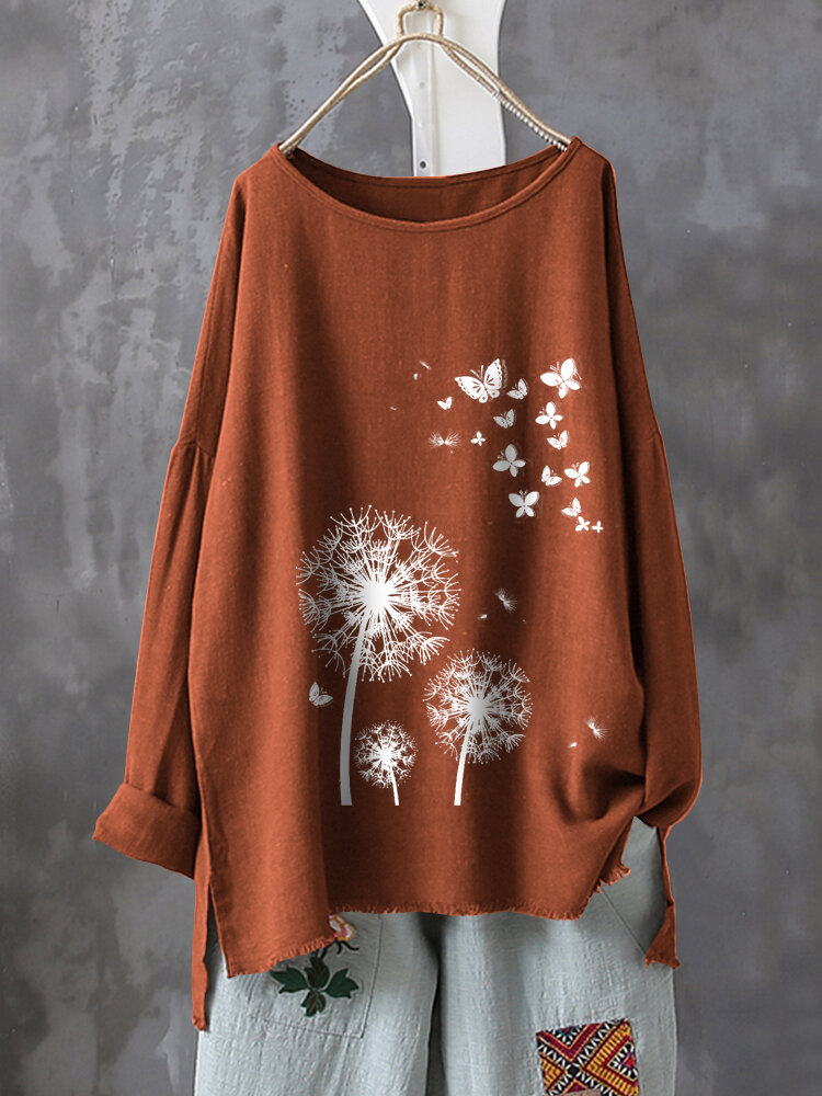 Casual Print Butterfly Flower Long Sleeve T-Shirts