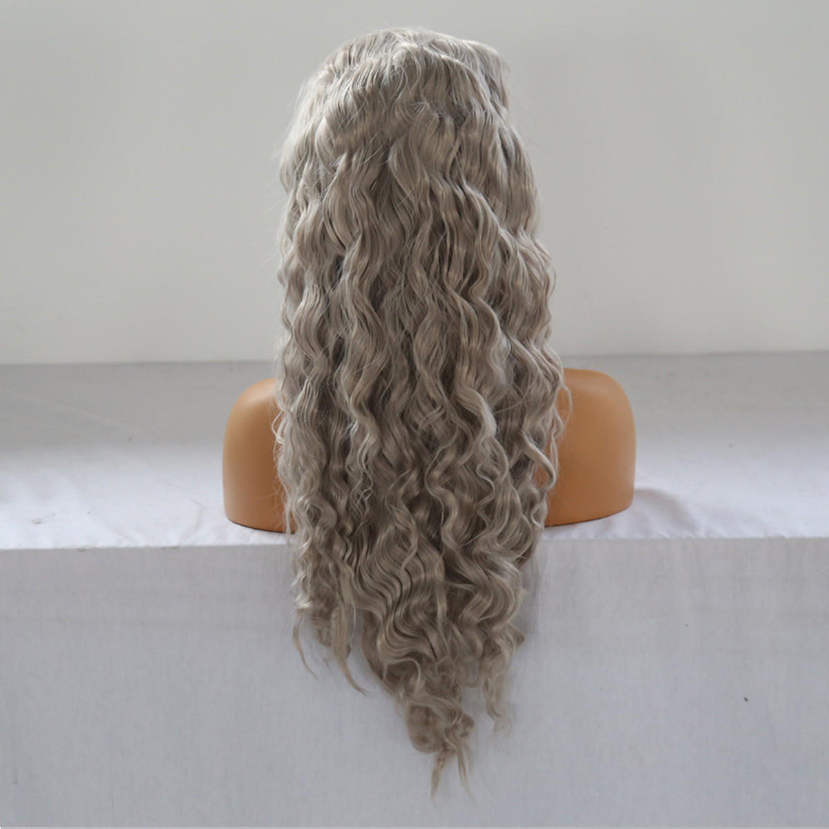 24 '' Frontale in pizzo ondulato naturale da donna Parrucca Girls Golden Blonde Curly Synthetic Capelli - 3