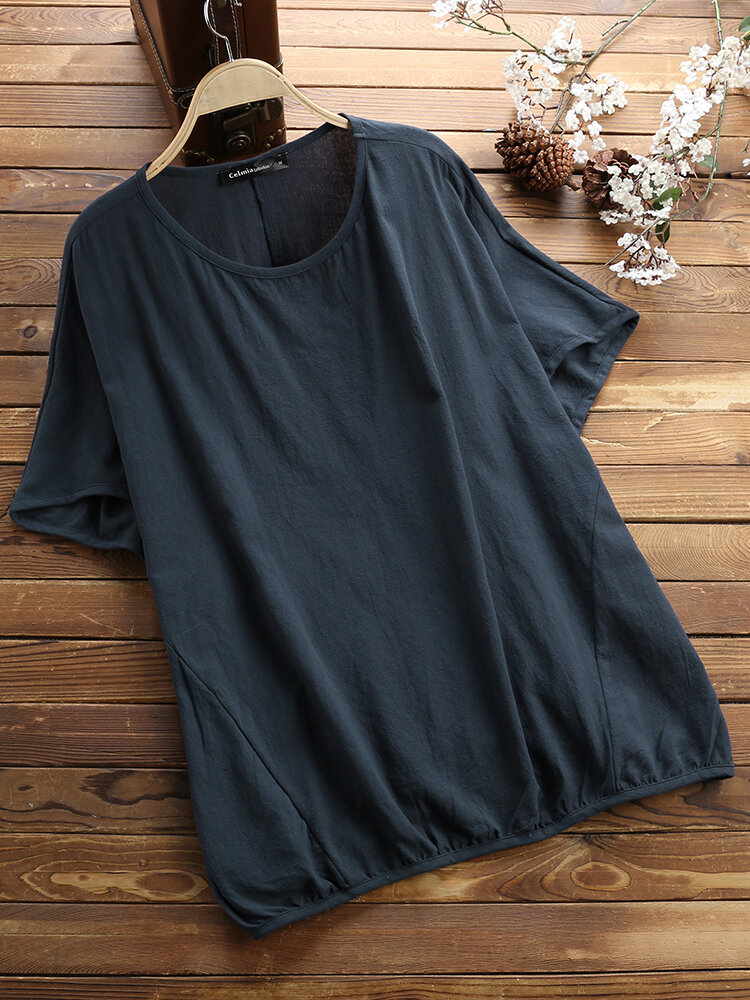 Solid Batting Sleeve O-neck Casual Blouse фото
