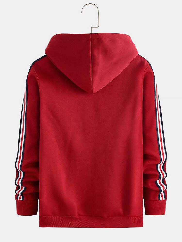 Herren neue Freizeitmode mit Kapuze Fashion Line Stitching Sweatshirt - 2