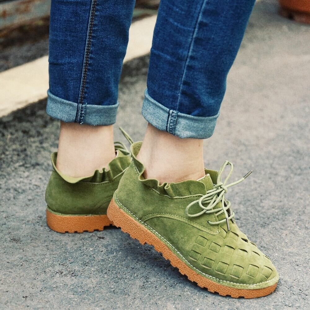 Women Casual Solid Color Round Toe Lace Up Loafers - 3