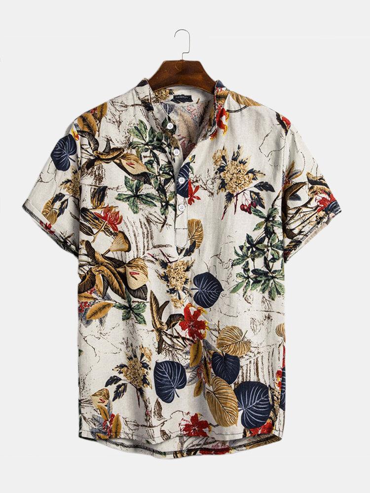 Mens Hawaiian Short Sleeve Summer Floral Printed Beach Shirt - 1