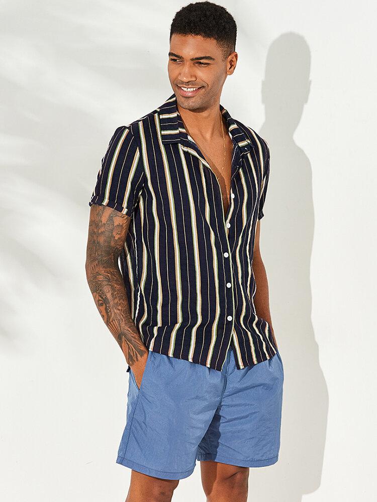 Mens vertikal gestreiften Sommer Kurzarm Casual Fashion Shirts - 1