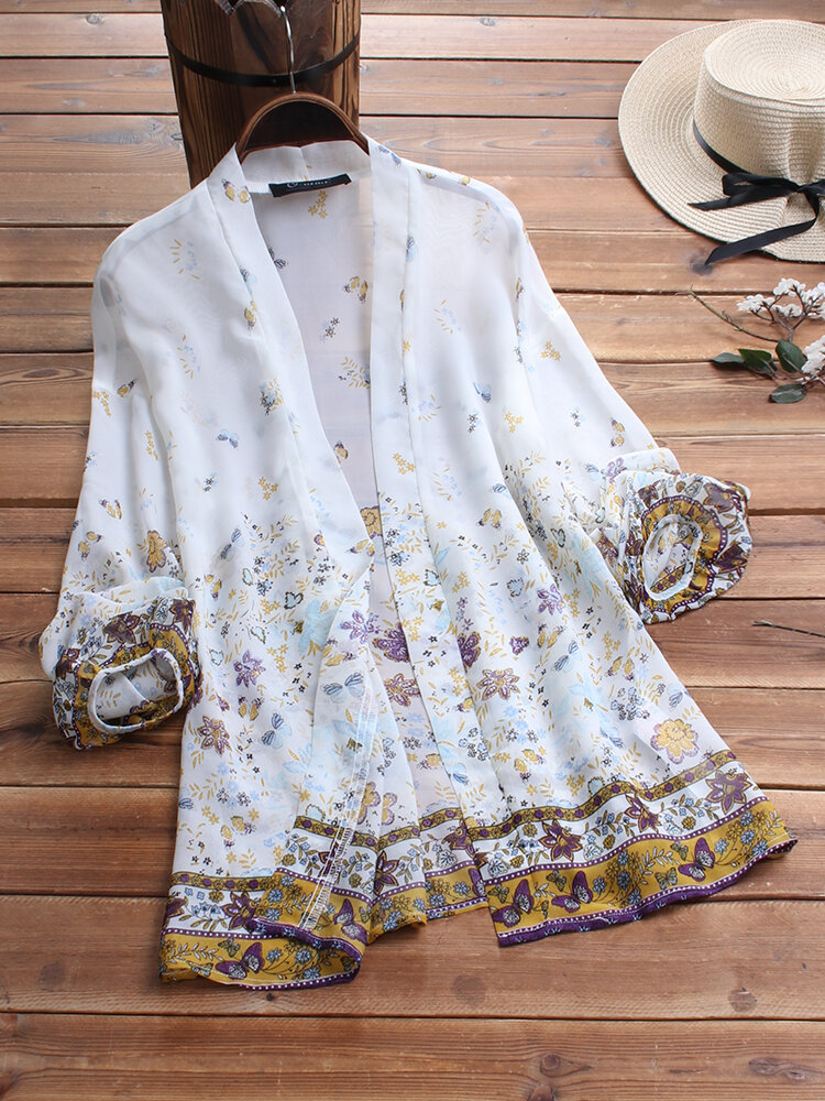 Butterfly print Bubble Sleeve Women Cardigans