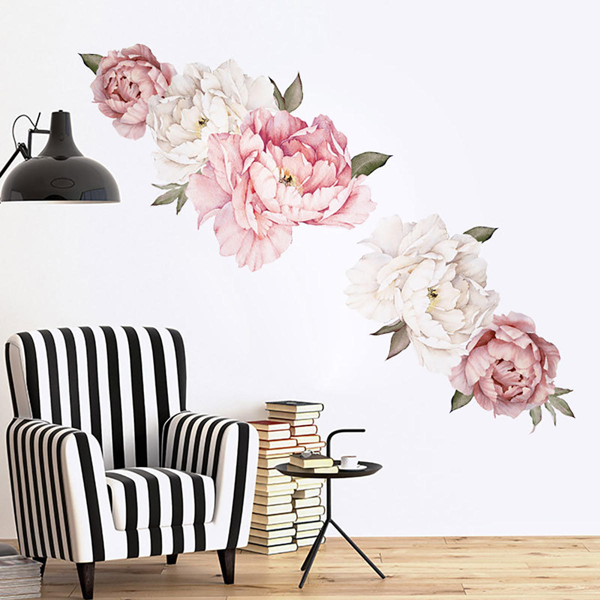 Peony Wall Paper Floral Wall Decals Watercolor Peony Self Adhesive Wall Sticker Creative Stickers
