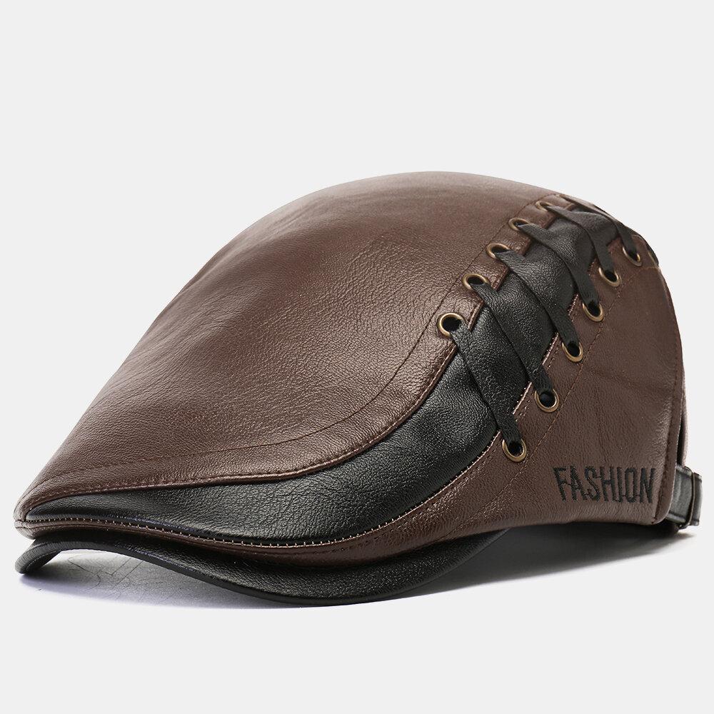 Men's Artificia Leather Beret Caps Casual Newsboy Cap Adjustable Warm Hats