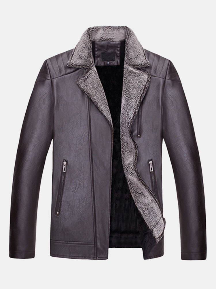 Mens Motorcycle Biker Thick Turn down Collar Coat Zipper Pockets PU Leather Jacket - 1