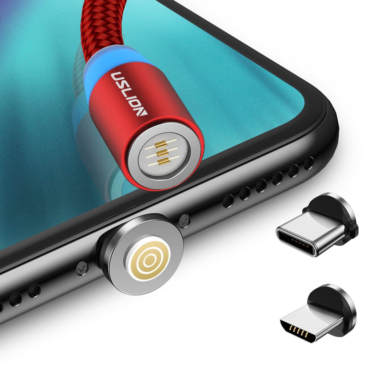 USLION 2.4A 2in1 LED 540° Magnetic Dual Position Game Quick Charge Data Cable for Samsung S10+ Xiaomi Redmi Note8 HUAWEI - 1