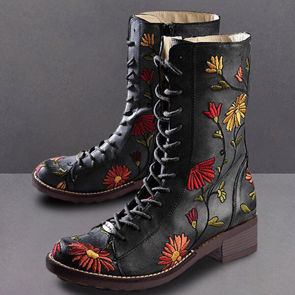 Women Pointed Toe Embroideried Lace Up Block Boots - 5