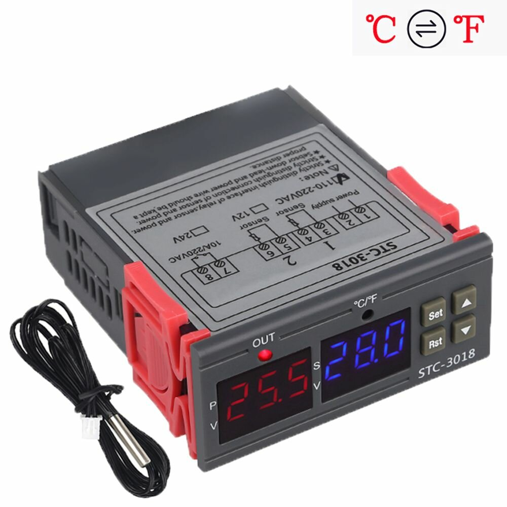 STC-3018 12V / 24V / 220V Digital Temperature Controller C/F Thermostat Relay 10A Heating/Cooling Thermoregulator with Dual LED Display
