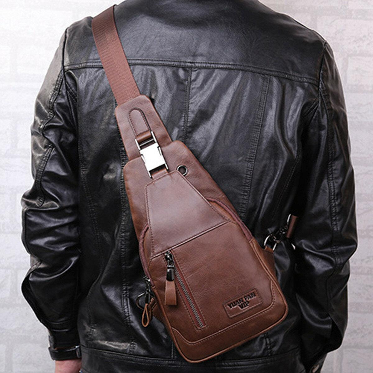 Men Outdoor USB Anti-thfet Multifunctional Large Capacity Waterproof Chest Bag - 2