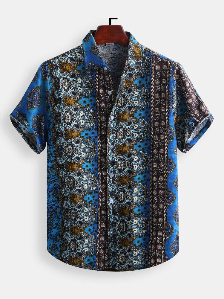 Мужские рубашки Винтаж в этническом стиле с принтом - 1