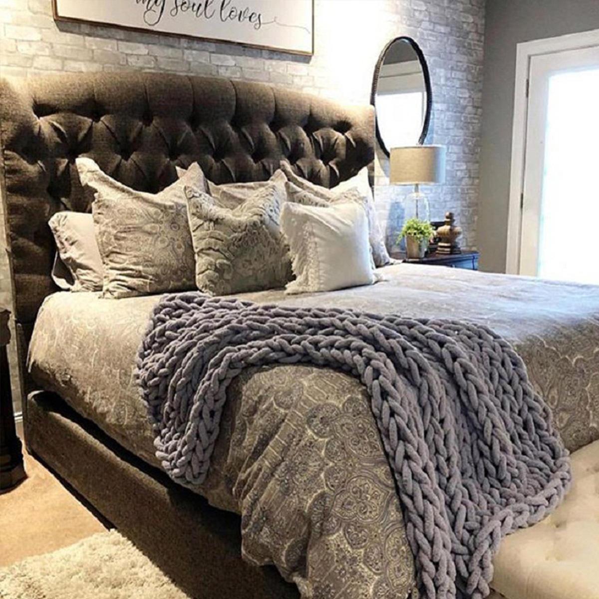 80 х 100см вязаное одеяло ручной работы хлопок Soft моющиеся безворсовые пледы - 5