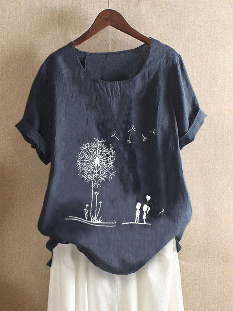 Flowers Print Short Sleeve Summer Plus Size T-shirts