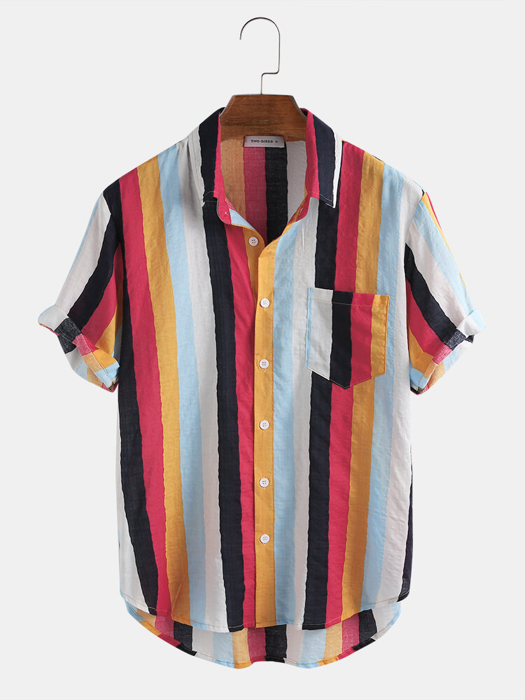 Mens New Fashion Casual Short Sleeve Colorful striped shirts - 1