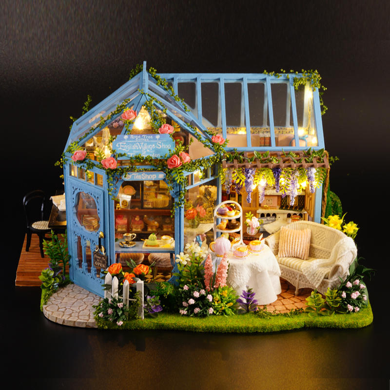 CuteRoom L-023 Blue Time DIY House With Furniture Music Light Cover Miniature Model Gift Decor - 5