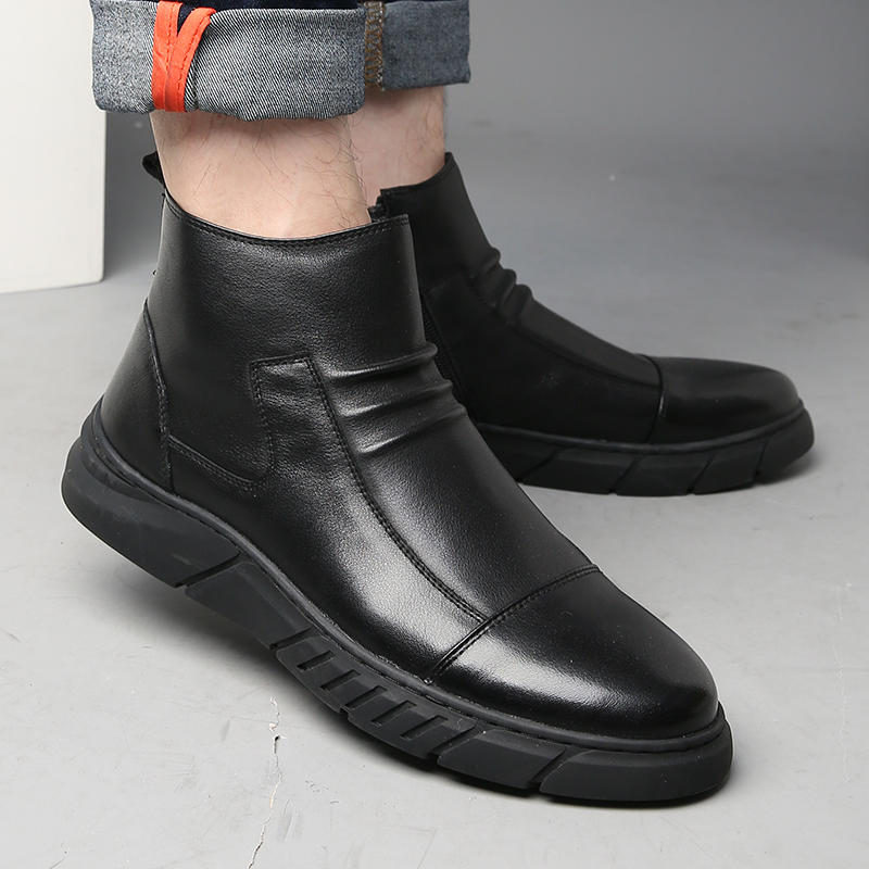 Menico Men Big Size Comfortable Stitching Ankle Boots - 9