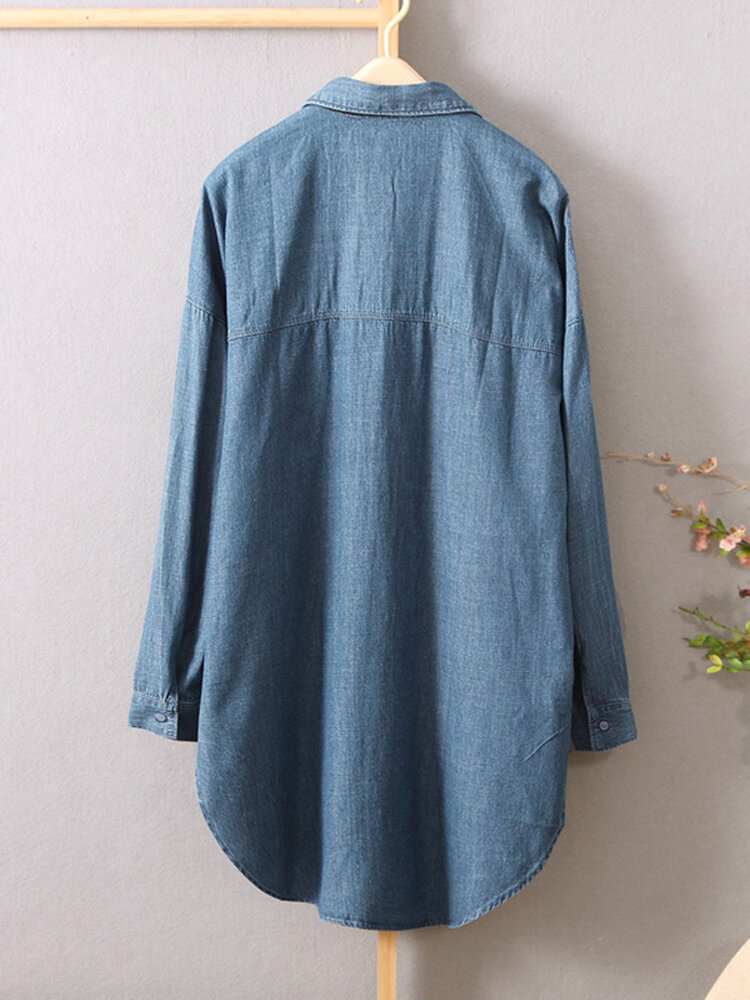 Casual Solid Color Button Long Sleeve Denim Blouse - 2