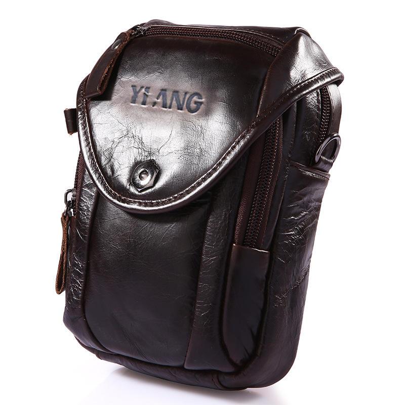 Genuine Leather 5.5-7″ Cell Phone Bag Waist Bag Crossbody Bag For Men - 10