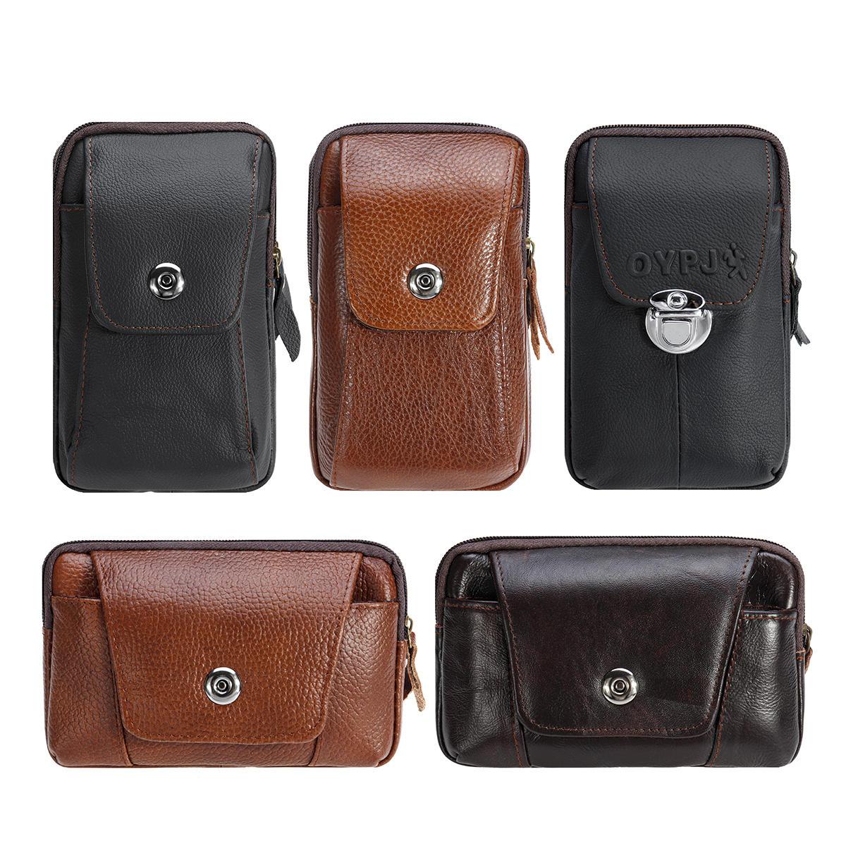 चमड़ा जिपर बेल्ट पाउच बैग विंटेज फोन सामरिक कमर बैग भंडारण धारक पैक