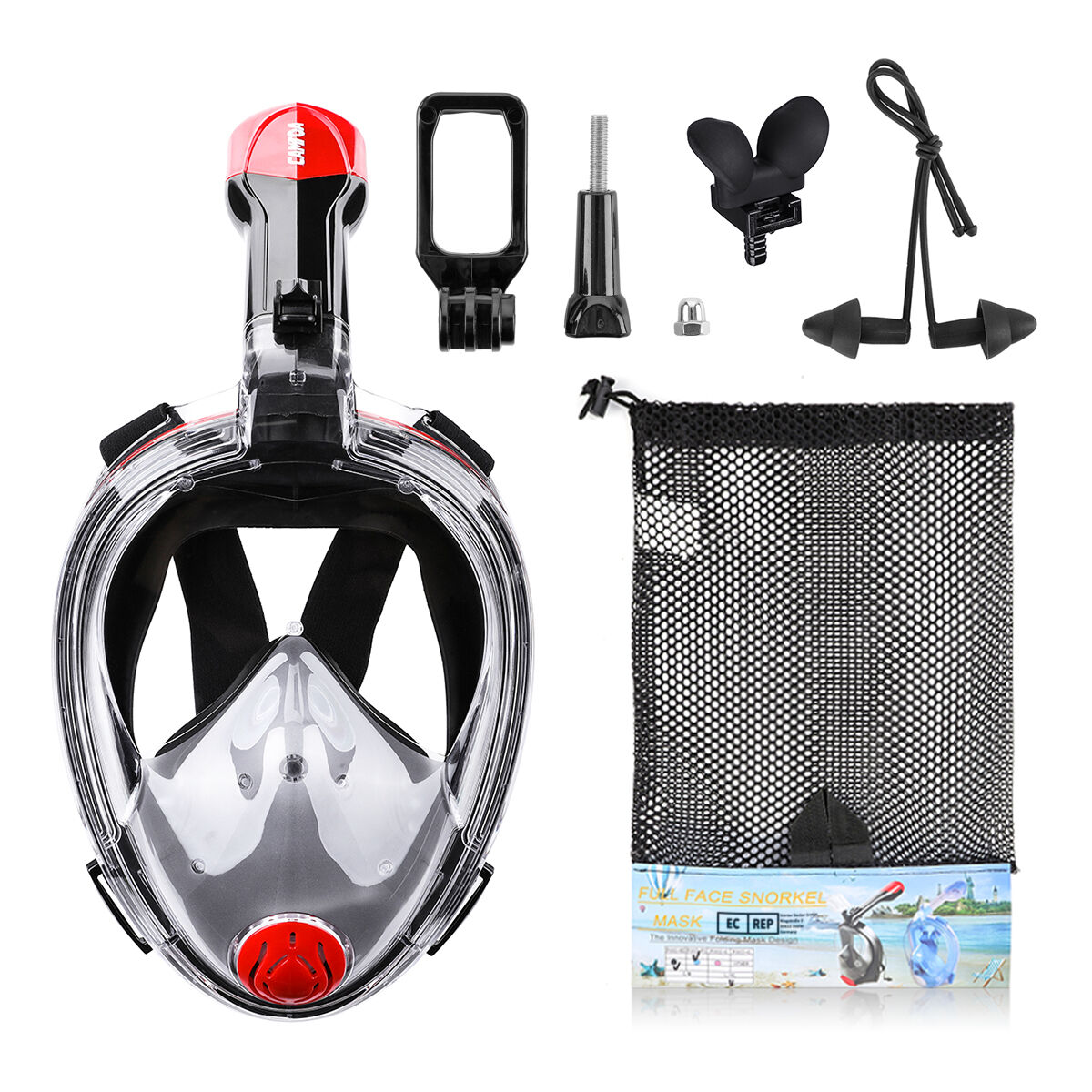 CAMTOA Foldable 180° Full Face Snorkeling Mask Anti fog Diving Respirator Mask with Detachable Camera Stand Net Bag - 1