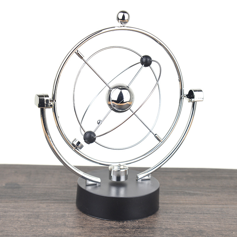 1 Pc Perpetual Motion Instrument Spherical Pendulum Orbital Revolving Ornament Toy Desktop Decorations for Home Office Birthday Gifts - 3