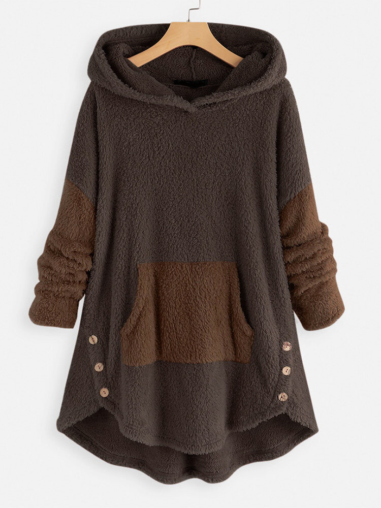 Jacquard Striped Patchwork Button Knit Hooded Sweatshirt - 4