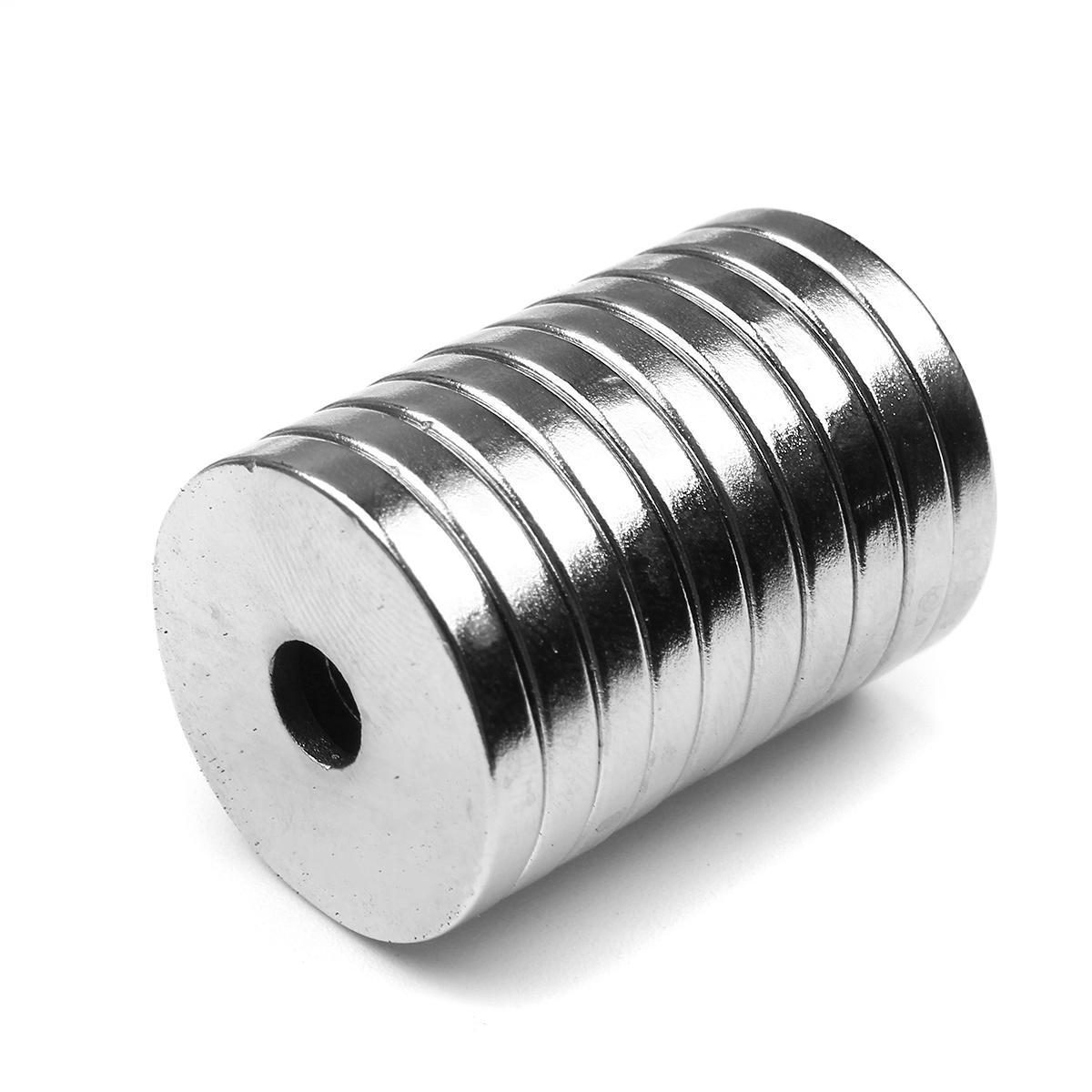 10 Adet 20x3mm NdFeB Neodimyum Mıktanıs 3mm Delik Havşa Yuvarlak Yüzük ile Mıknatıslar
