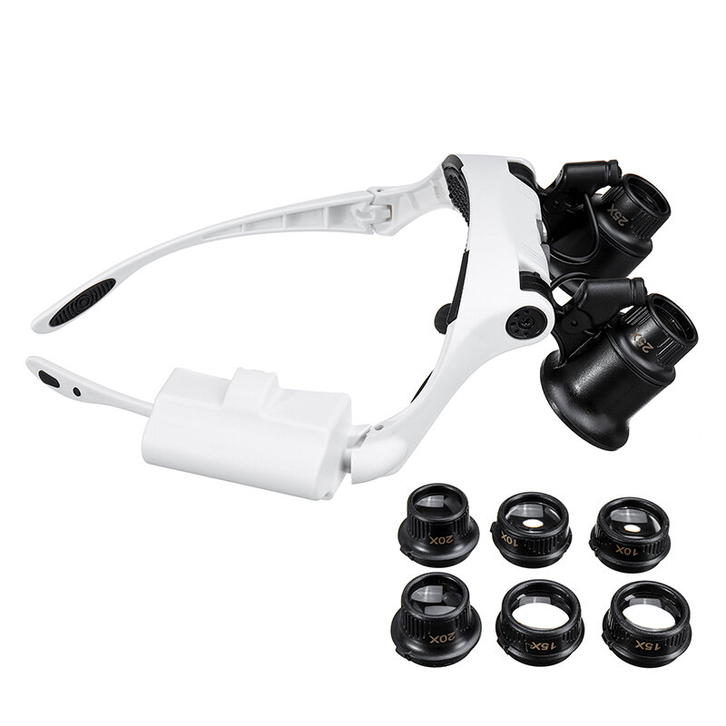 10X 15X 20X 25X LED Magnifying Glasses Jewelry Loupe Magnifier Binocular Loupe Glasses with Light Enlargement Mirror - 2