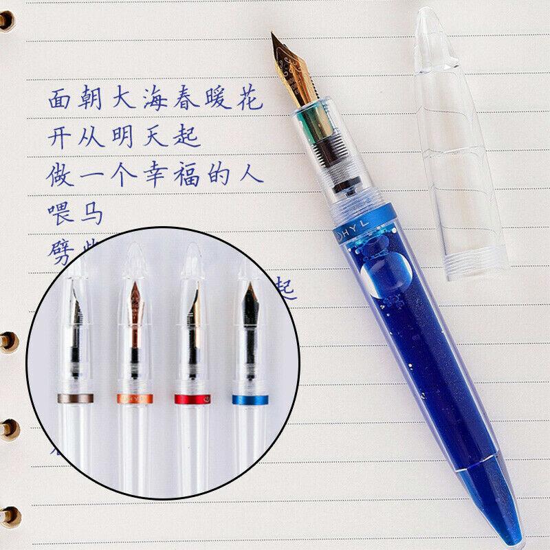 C3 Transparent Acrylic Eyedropper Fountain Pens Refillable Ink Pen Calligraphy Pens Fine Nib 0.5mm Writting Pen for School