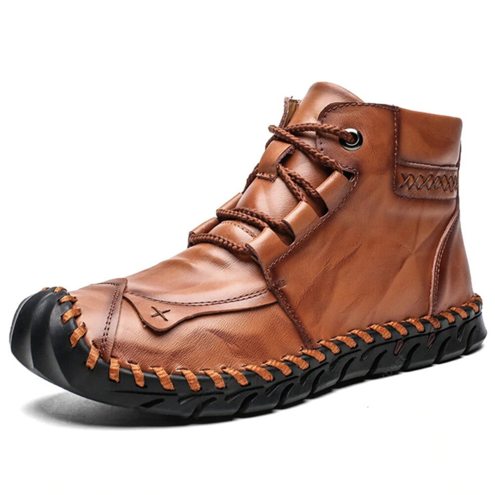 Genuine Leather Spicing Shoeface Large Size Hand Stitching Soft Sole Casual Ankle Boots - 1