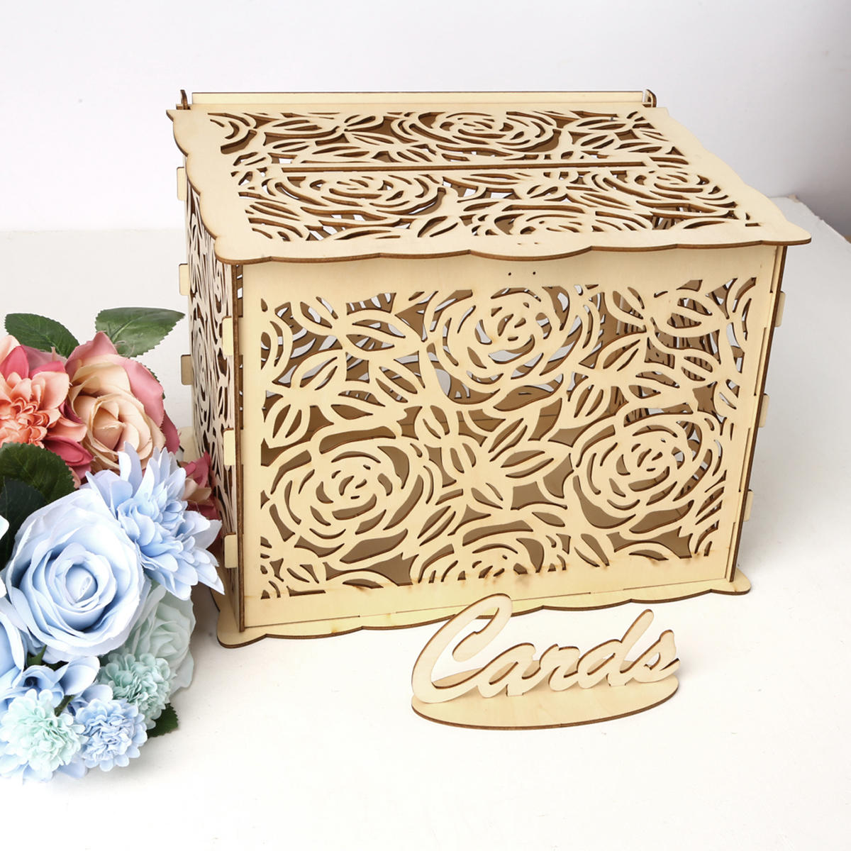 Wedding Card Box Wooden Rose Boxes Lock Party Wedding Decoration