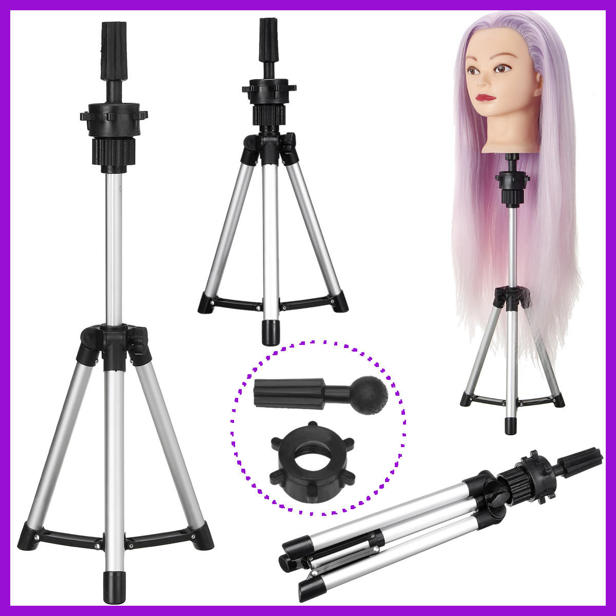 Adjustable Tripod Stand Salon Mannequin Head Wig Stand Hairdressing - 2