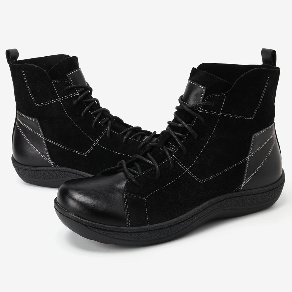 Women Fur Lining Lace Up Winter Casual Snow Ankle Boots - 5