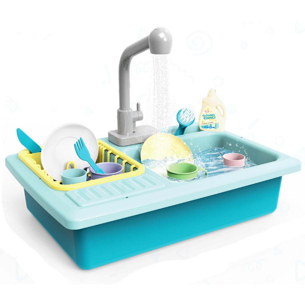 Children Plastic Simulation Electric Dishwasher Sink Pretend Play Kitchen Toys Kids Puzzle Early Education Toy - 1