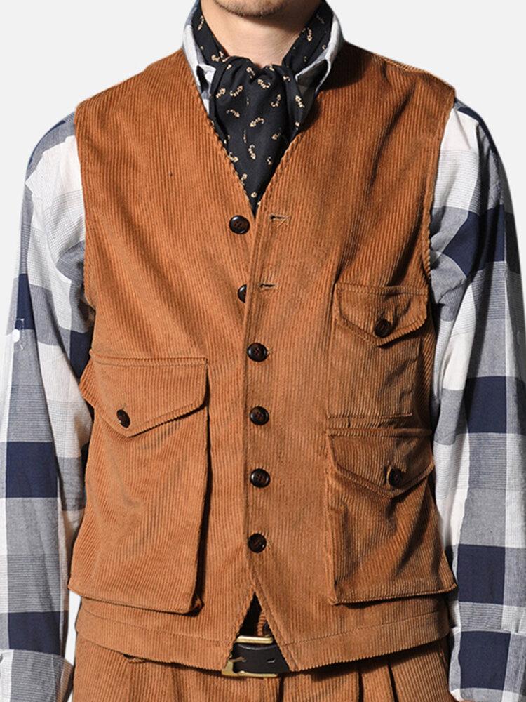 Mens Fashion Denim Double Pockets Turn Down Collar Casual Vest - 1