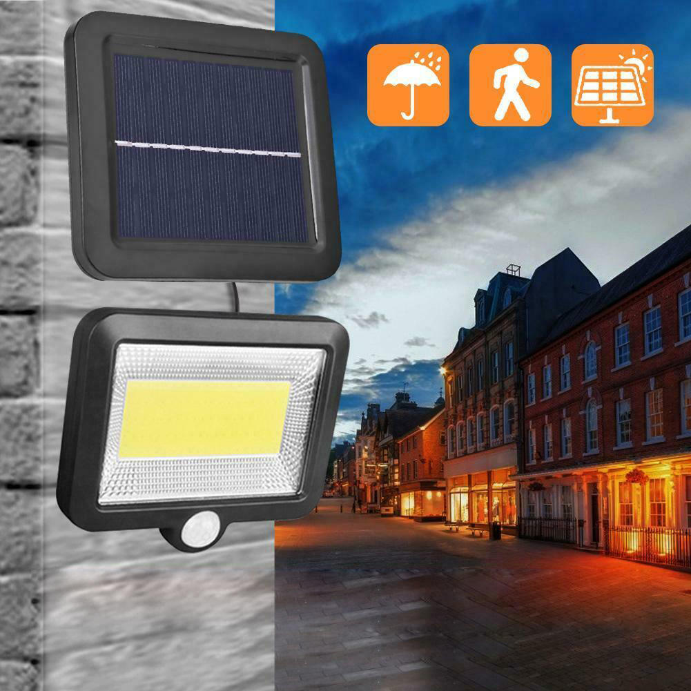 30W Solar Power COB 100LED PIR Sensor Motion Flood Lamp Waterproof IP65 Outdoor Street Garden Yard Camping Light Spotlight