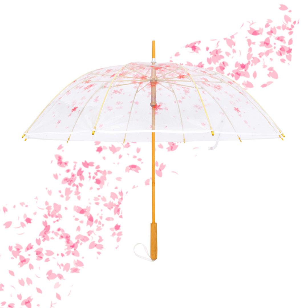 1-2 People Sakura Transparent Long Handle Stick Umbrella From Xiaomi Youpin