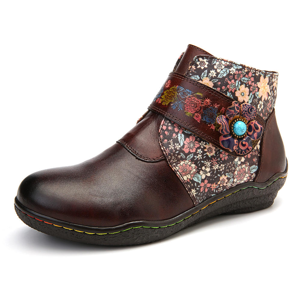 SOCOFY Women Retro Small Flowers Colorful Stitching Soft Flat Leather Ankle Boots
