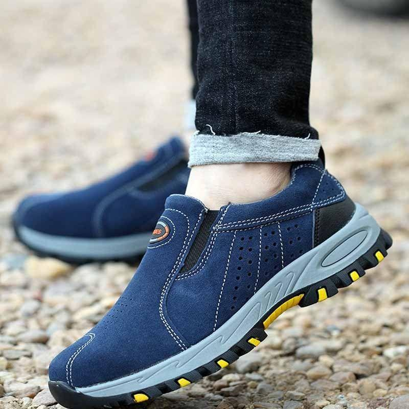 TENGOO Men's Leather Hiking Steel Toe Work Safety Mesh Anti-slip Anti-Collision Climbing Shoes Safety Shoes - 7