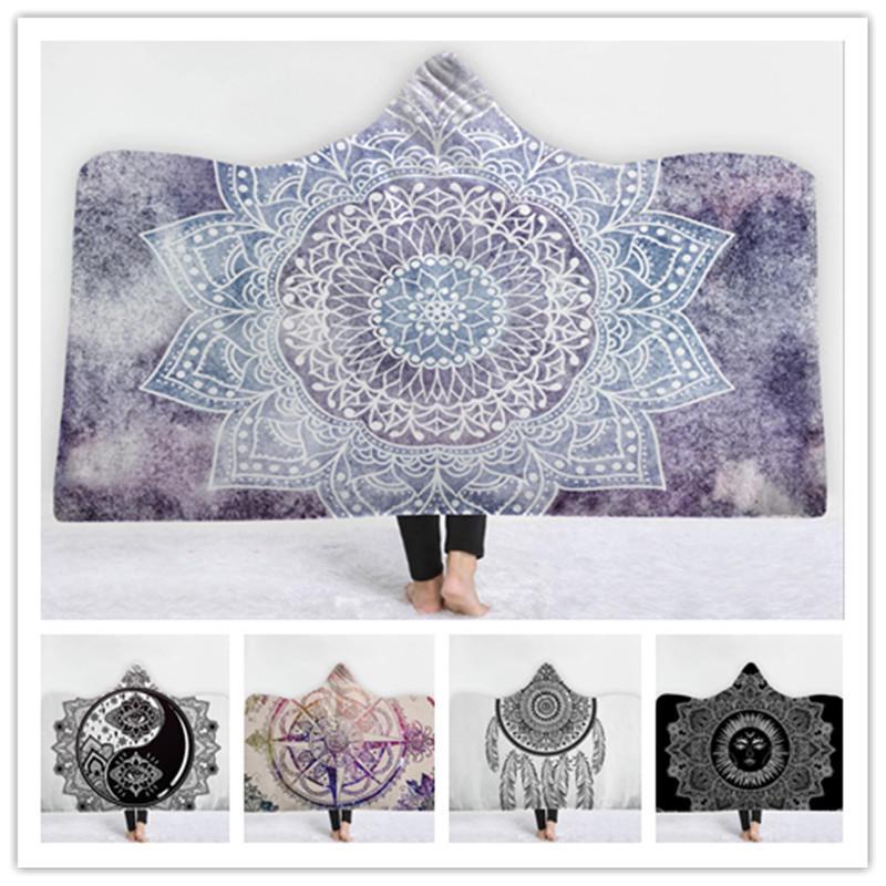 150x200 см Зимняя Галактика Сцена Шаблон Плюшевые Носимые Одеяла с Капюшоном Бросить Печать Одеяло Бросить Кровать - 6