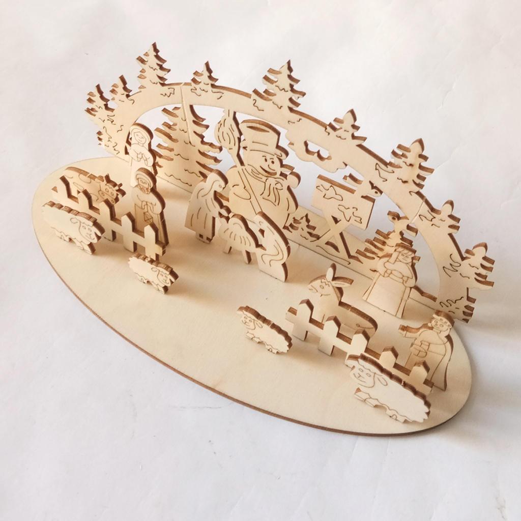 Loskii JM01692 DIY Navidad Juguete de madera Navidad Fiesta divertida Decoraciones de escritorio Adornos de madera de Navidad - 5